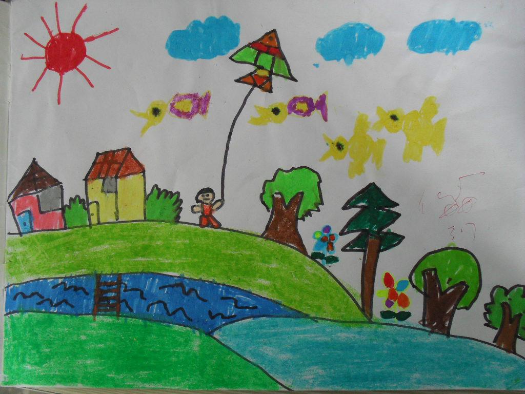 一年级水彩画春天来了分享展示