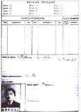 邓小平在雷诺厂的档案卡