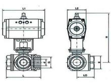 q614/15 气动三通内螺纹球阀图片
