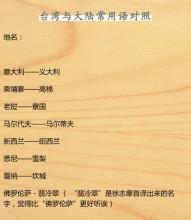 台湾与大陆的常用语、词语读音和字体差异
