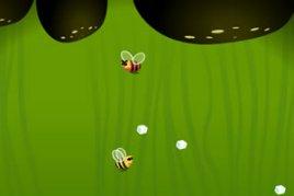 小蜜蜂采蜜,要帮它们拿到花蜜结晶,要小心撞上凶悍的大蜜蜂,简单又图片