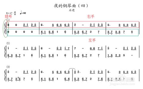 每一行的左右手弹奏都有最前面的大括号括起来,在弹奏的时候看起来更图片