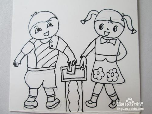 幼儿水彩笔画 爱护环境的好孩子 的作画步骤