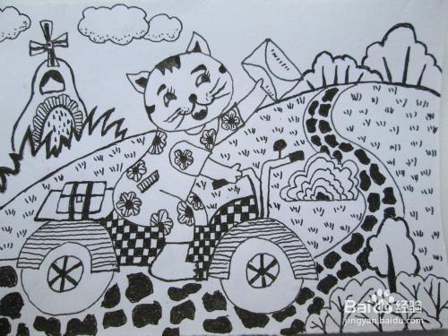 幼儿黑白线描画《小花猫送信》图片