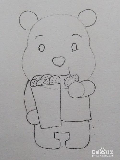 儿童简笔画教程之小熊吃饼干步骤图片