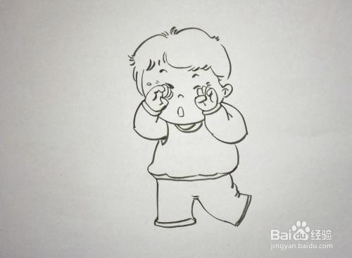 儿童趣味创意画 简笔画 哭泣的小孩