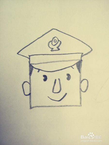 正方形简笔画 警察