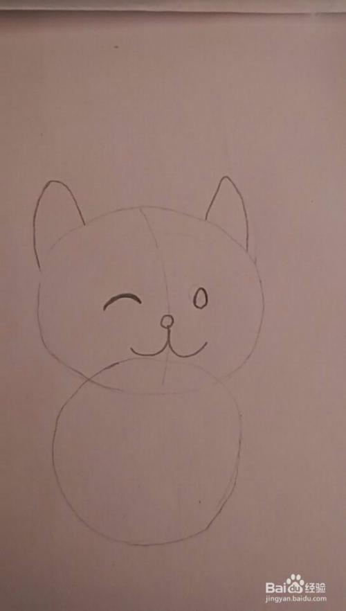 多妈简笔画用圆形来画一只小猫