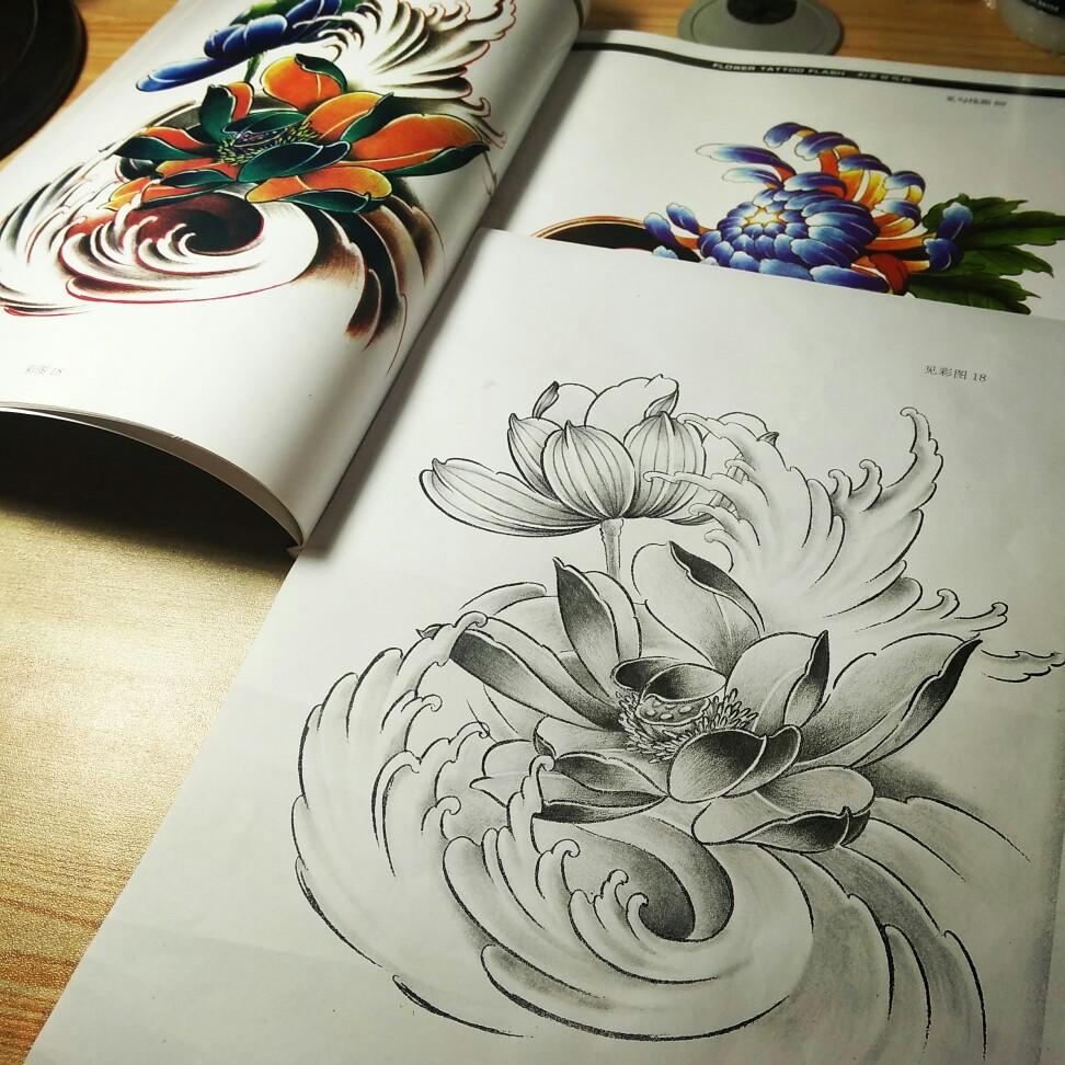 荷花 纹身 手稿彩图_荷花 纹身 手稿彩图_荷花 纹身 手稿彩图 (972图片