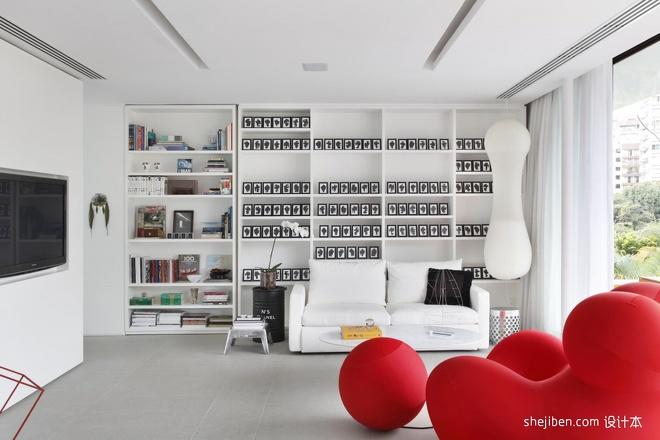 2013现代风格别墅家装创意书房书架沙发电视墙窗帘装修效果高清图片