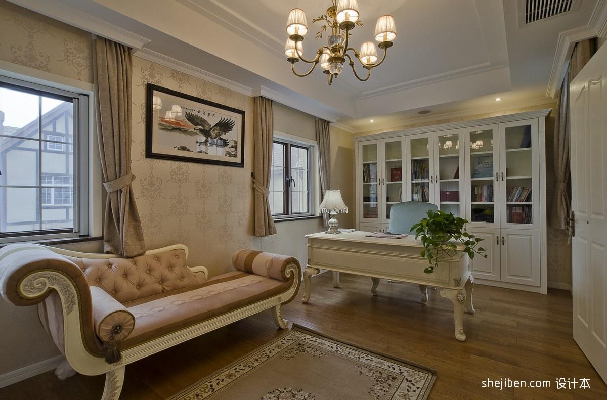 式风格别墅温馨书房壁纸书桌椅子装饰画书柜卧榻装修效果图 高清图片