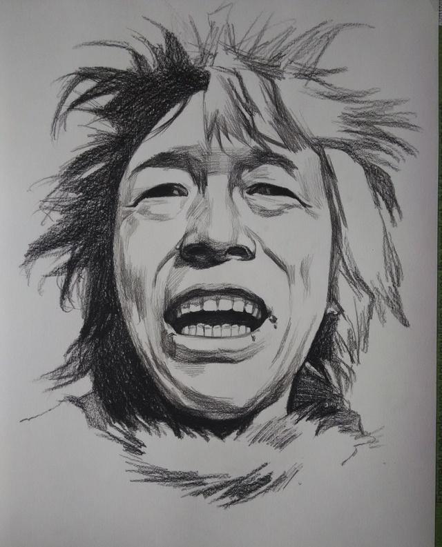 手绘素描黄渤头像图片