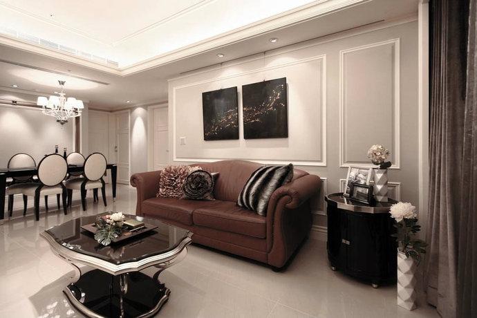 92平米古典美式三居室客厅装修效果图_设计案例_太平洋家居网高清图库图片