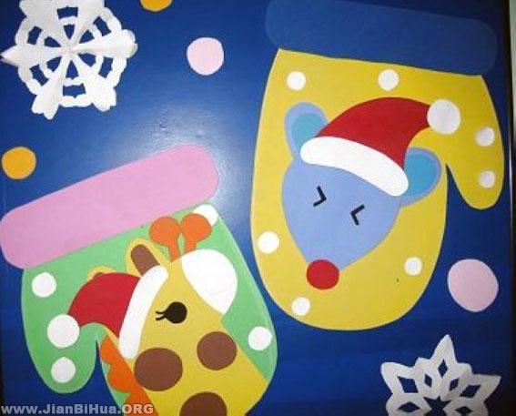 幼儿园主题墙布置 手套娃娃