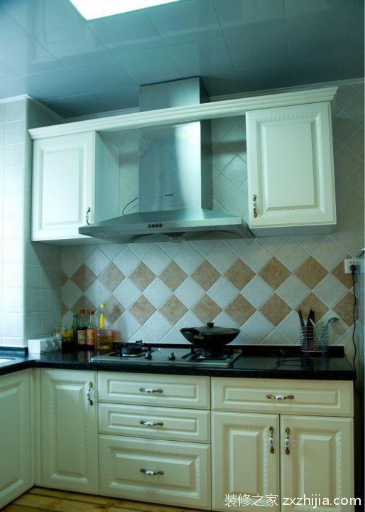 现代简约整体厨房l型橱柜效果图_装修之家装修效果图图片