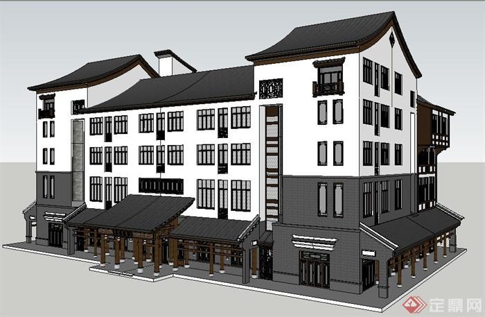 古典中式风格餐馆建筑设计su模型图片