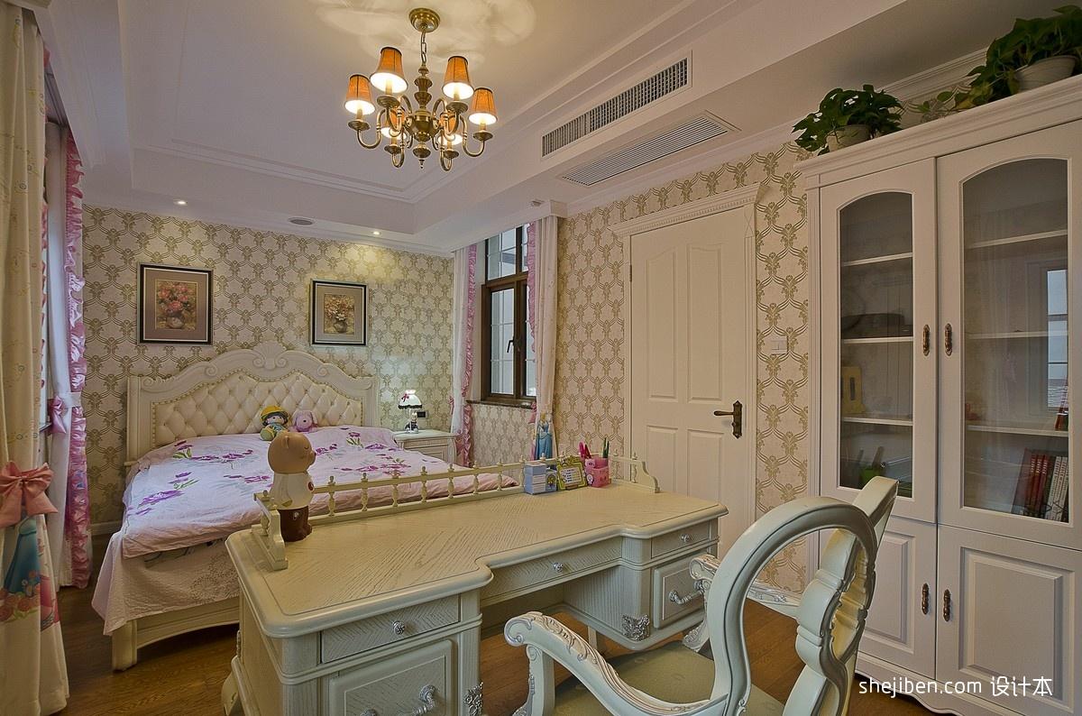 2013欧式风格别墅豪华女孩卧室带书房壁纸装饰画装修效果图 高清图片