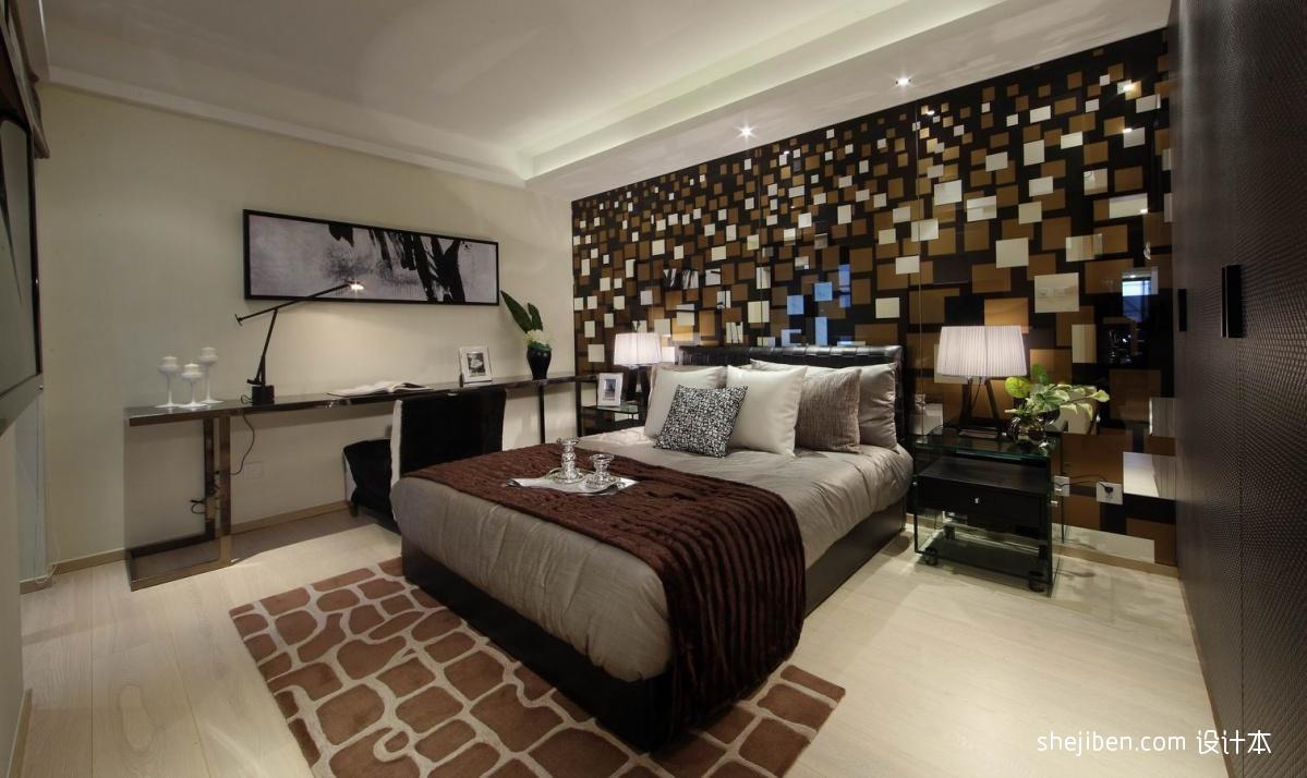 2013现代风格样板房创意成人卧室个性壁纸带书房装修效果图 高清图片