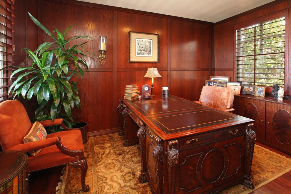 美式风格三室一厅豪华书房书柜椅子书桌窗帘家具装修效果图 高清图片