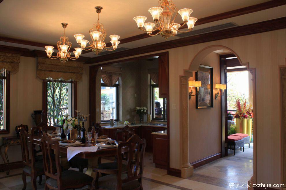 110平美式风格别墅餐厅厨房效果图_装修之家装修效果图