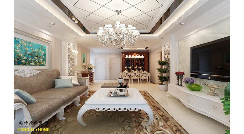 5-10万90平米欧式二居室装修效果图,8万98㎡ 简欧风格装修案例效果图图片