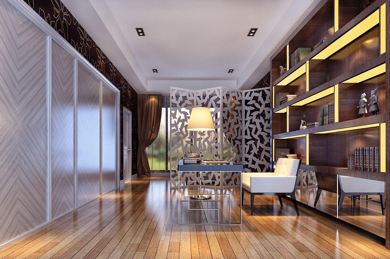 2013现代风格别墅豪华书房隔断书柜椅子书桌家具装修效果图高清图片