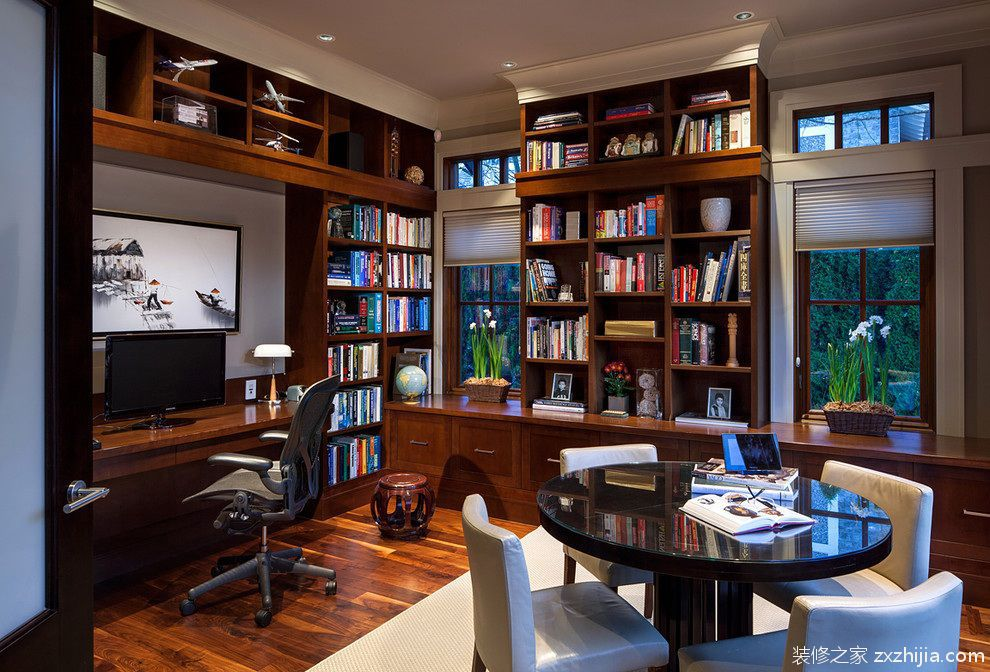 现代中式古朴书房装潢_装修之家装修效果图图片