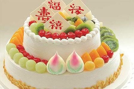 享价值468元『巴黎甜甜』全新欧式14吋+10吋祝寿贺寿蛋糕5种款式任选1图片