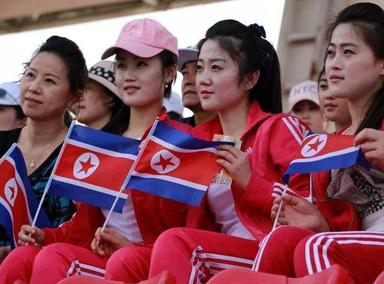 朝鲜啦啦队表演实力打call