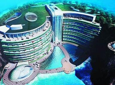 中国废矿坑里建酒店,地表向下88米