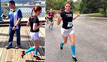 女子穿高跟鞋跑完马拉松
