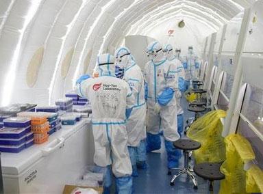 运动场变身核酸检测实验室