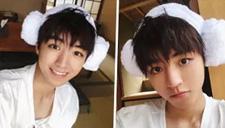 王俊凯戴浴室羊角帽