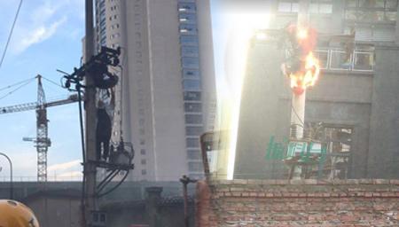 实拍重庆一电工抢修电力触电 瞬间全身起火