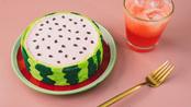 在家自制星爸爸西瓜蛋糕,冰冰凉的口感丝毫不差于原型