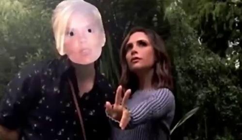 搞怪母子:布鲁克林带辣妹面具与维多利亚合影