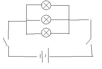 同问 初中物理 电路图 高手进 关于两个开关控制三盏灯的问题