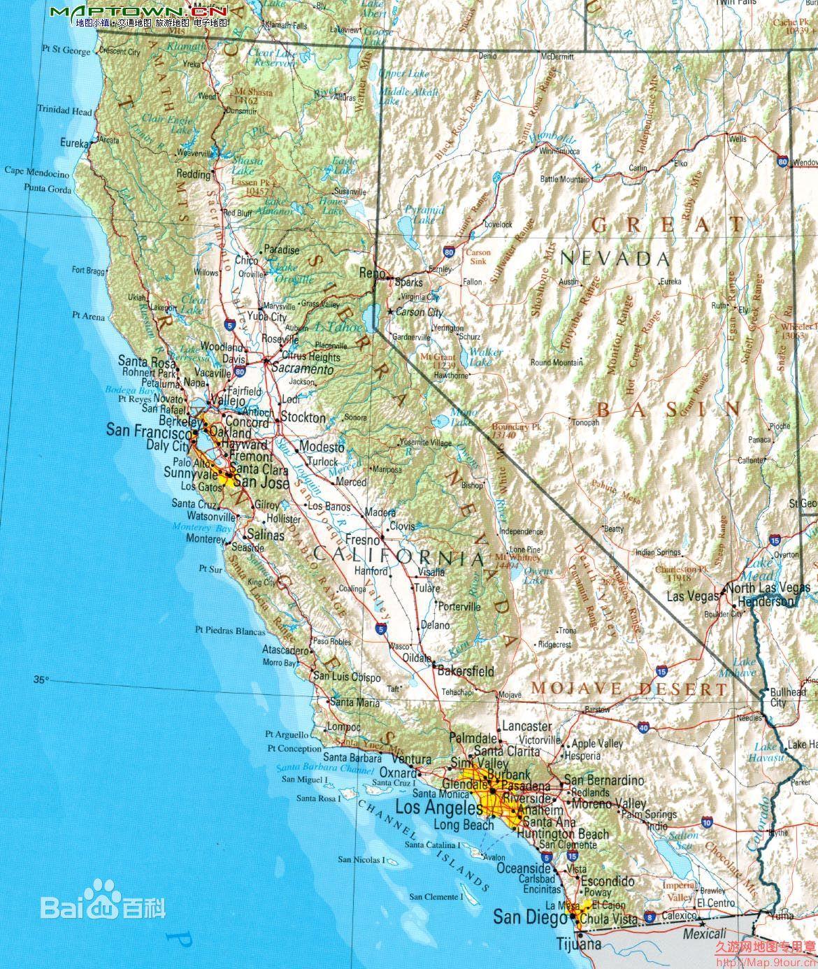 美国加州地图 百度知道