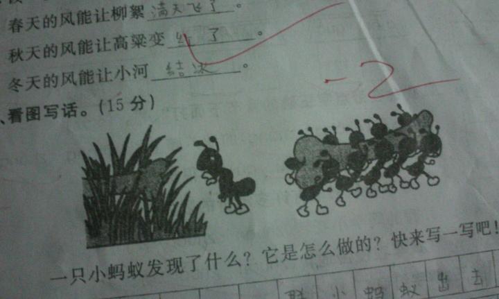 看图写话急这两幅图.中国舞考级小河掉进蚂蚁里图片