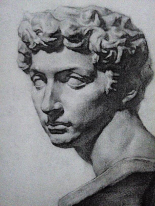 素描石膏头像头发画法图片