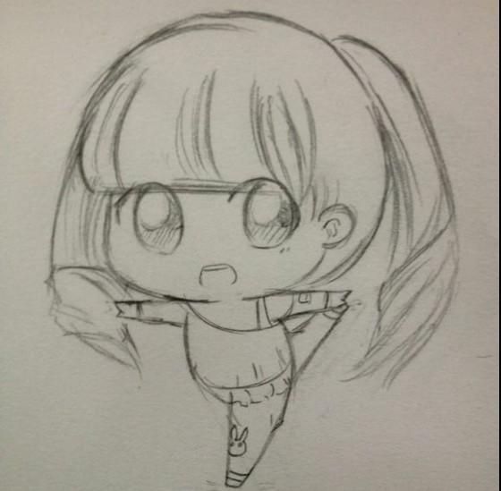 黑白铅笔画女生
