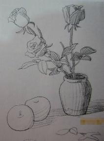 谁有湘教版美术六年级下册瓶花与水果的图.急急.图片