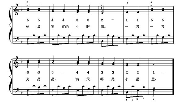 麻烦谁给翻译一下这个小星星的简谱,左右手都要.图片