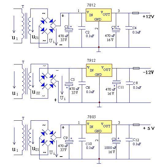 20915急求直流稳压电路输出5v和12v的电路图320100505-12v转5v电图片