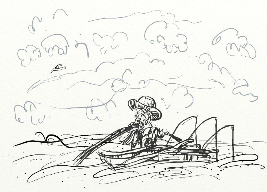 老人与海 - 人物, 黑白; 小学生帮助老人的画; 图片