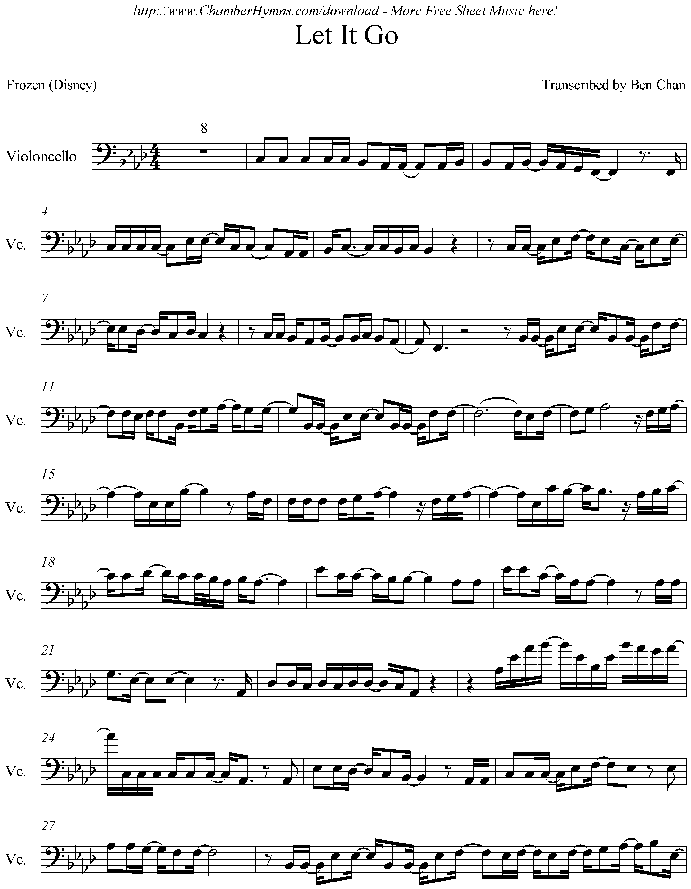 let it go 小提琴谱图片