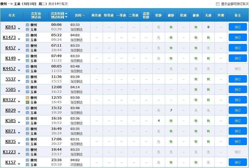 柳州-玉林共有14趟火车图片