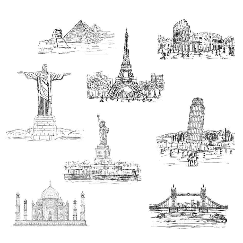 巴黎铁塔简笔画图片