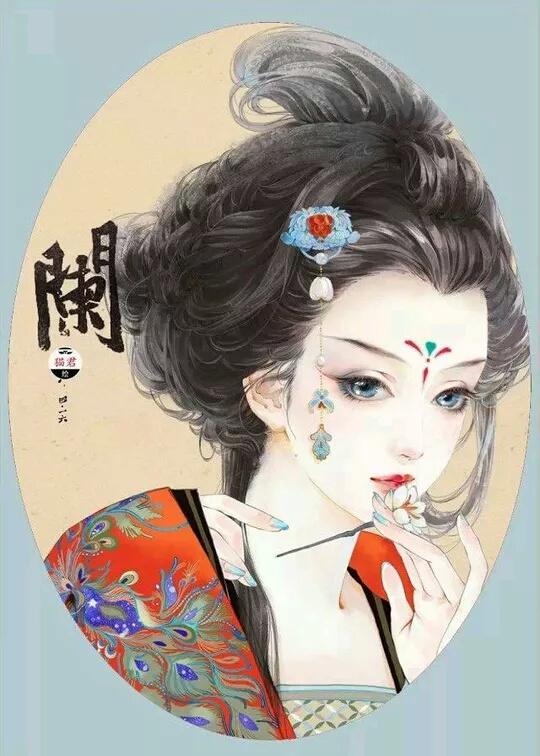 求古装美女图,类似水墨画的图片