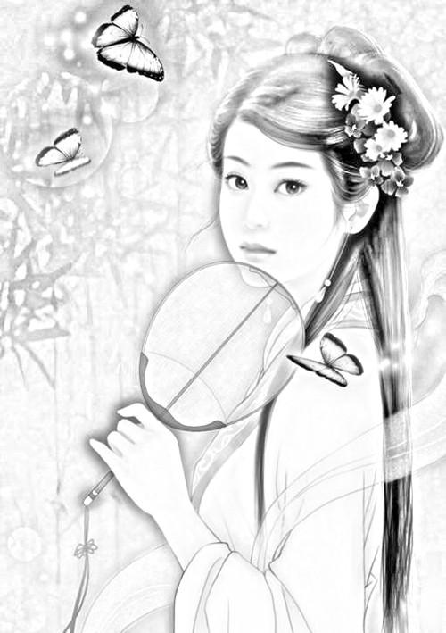 古代少女素描图片